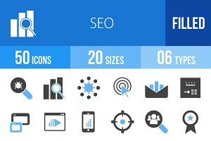 50 SEO Blue & Black Icons
