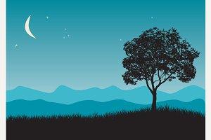 Tree in night scene