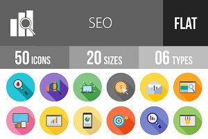 50 SEO Flat Shadowed Icons