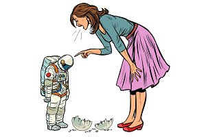 Woman scolds astronaut. The guilty
