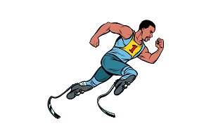 disabled African runner with leg
