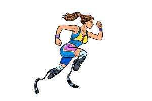 disabled runner woman with leg