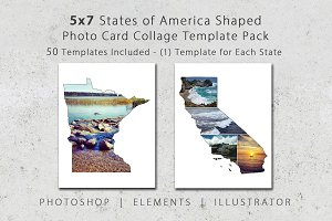 5x7 State Shaped Card Template Pack
