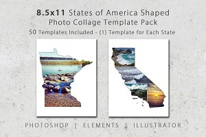 8.5x11 State Shaped Photo Templates