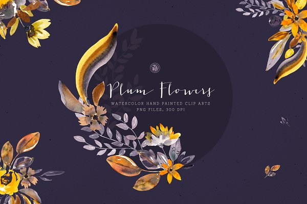 Plum Watercolor Flowers