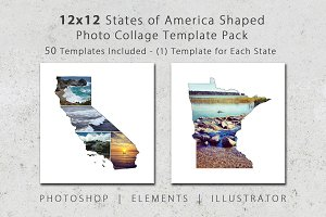 12x12 State Shaped Photo Templates