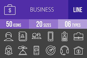 50 Business Line Inverted Icons