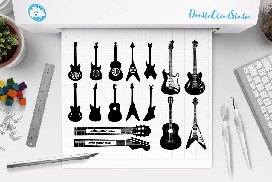 Guitar Svg Guitar Monogram Svg File Pre Designed Photoshop Graphics Creative Market