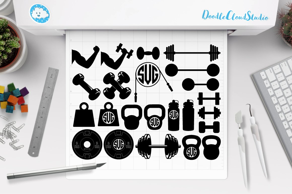 Weights Svg Files Lifting Weights Pre Designed Photoshop Graphics Creative Market
