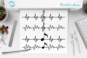 Musical Notes SVG, Musical Heartbeat