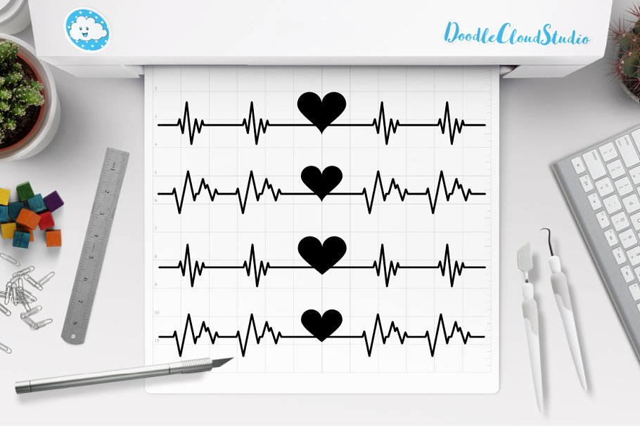 Heartbeat Weights Svg Crossfit Pre Designed Photoshop Graphics Creative Market