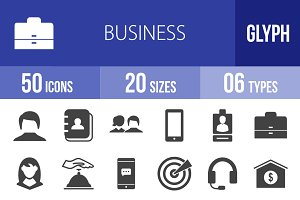 50 Business Glyph Icons
