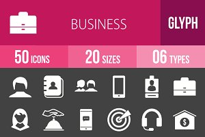 50 Business Glyph Inverted Icons