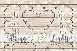 Vector lights clipart, String Lights