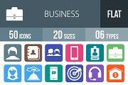 50 Business Flat Round Corner Icons