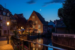 Night view of a street in Colmar