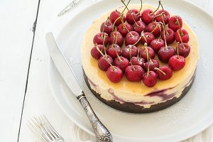 Cheesecake with fresh cherry