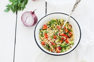 Healthy bulgur salad with paprika