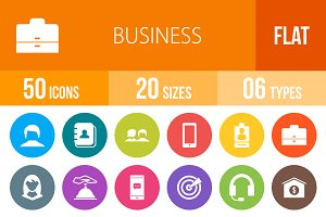 50 Business Flat Round Icons