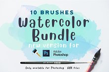 Watercolor bundle Photoshop Brushes by  in Brushes
