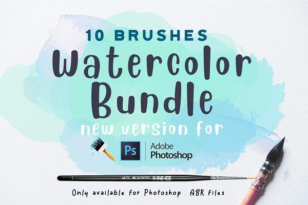 Add-Ons: Eliza Moreno Illustration - Watercolor bundle Photoshop Brushes