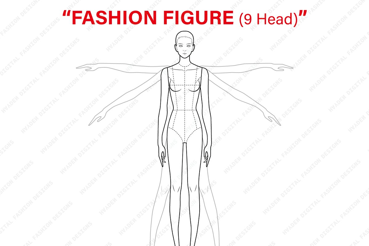 d8a368ca44d Fashion Figure Template (9Head) ~ Illustrations ~ Creative Market