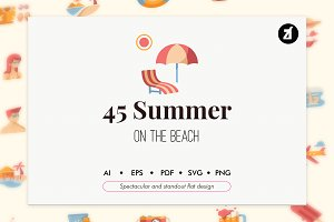 50 Summer elements flat icon