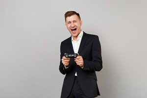 Cheerful laughing young business man