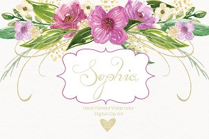 """Sophia"" watercolor cliparts"