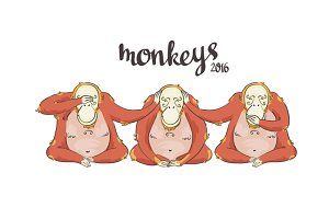 Symbol of 2016. Monkeys
