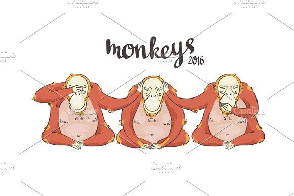 Symbol of 2016. Monkeys - Objects