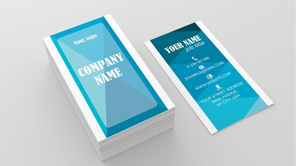 Blue Identity Card Business Card Templates Creative Market - Ups business card template