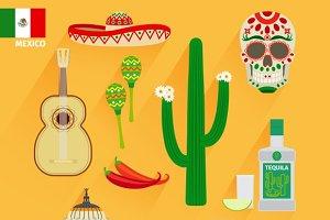 Mexico landmarks icons