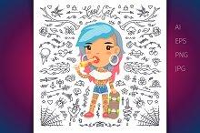 Cartoon Cute Tattoo Girl