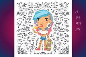 Cartoon Cute Tattoo Girl