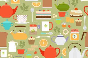 Tea pattern with teapots and cups