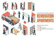 Aparments Renovation Isometric Set