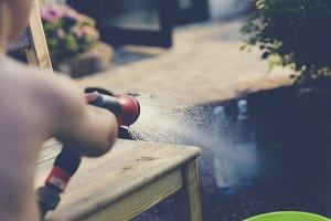 splash with garden hose