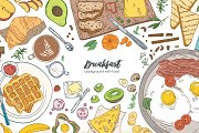 Breakfast backgrounds and banners