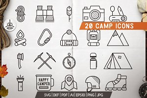 20 Mountain Adventure Icons / Logos