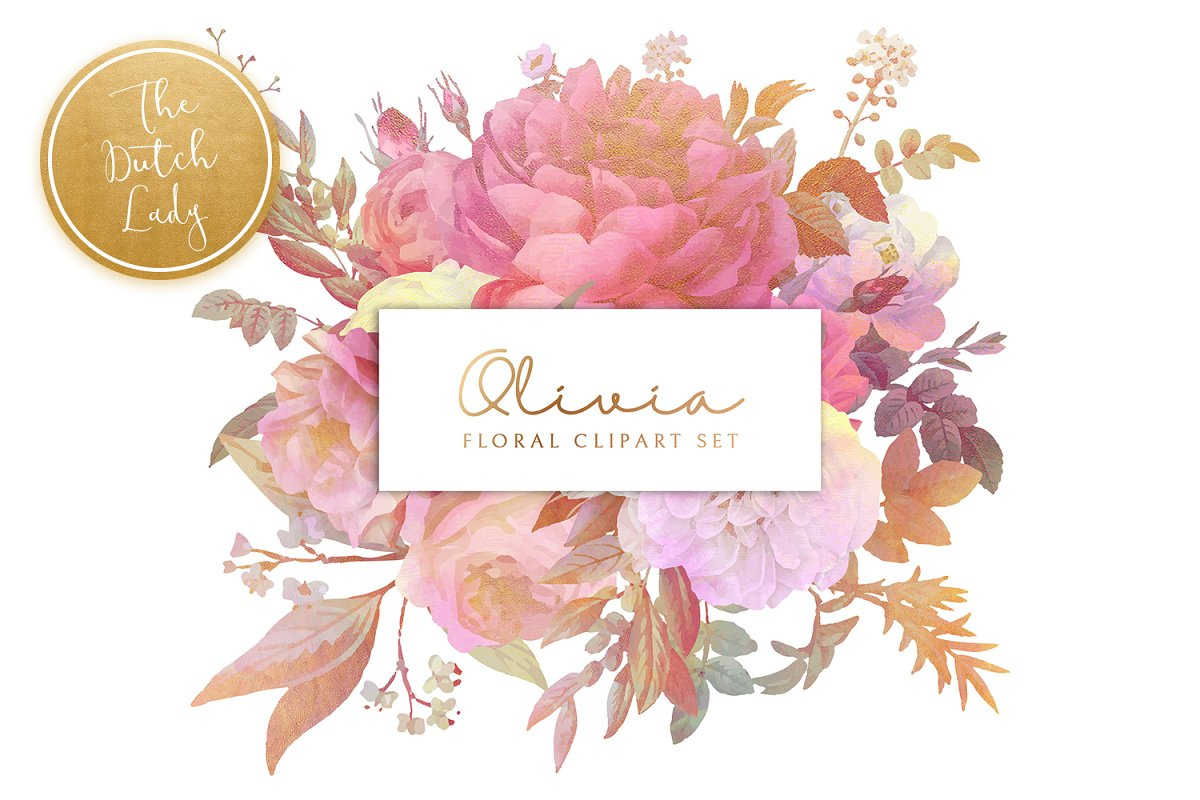 Floral & Botanical Clipart - Olivia in Illustrations - product preview 8