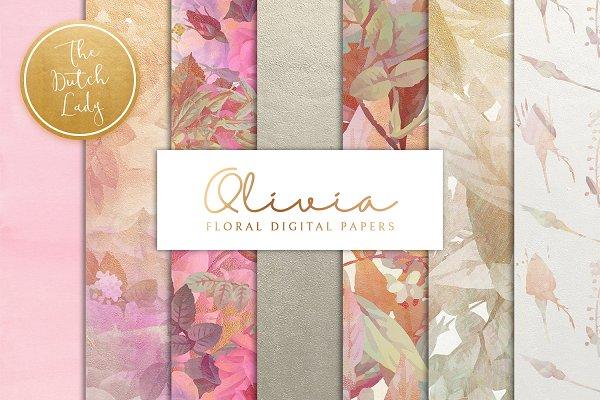 Floral Backgrounds & Paper - Olivia