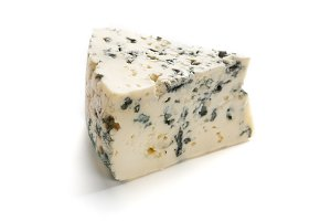 Blue cheese on white.