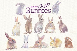 easter bunnies watercolor clipart