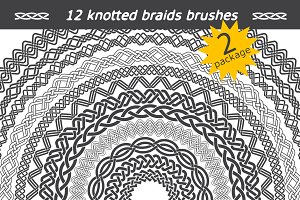 12 knotted braids brushes. Package 2