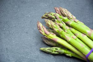 Asparagus on slate table