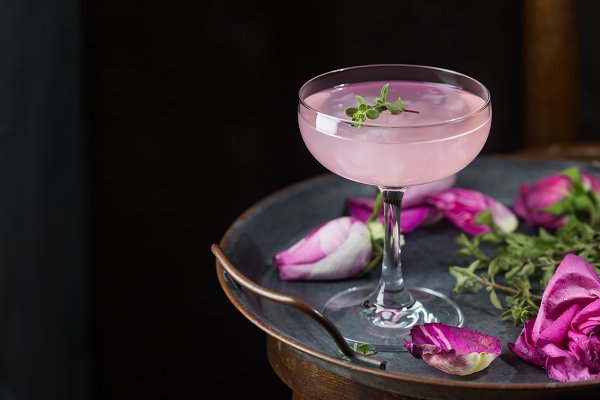 Food Images - Light pink rose cocktail