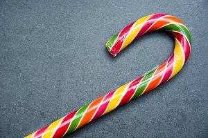 Candy cane on slate table