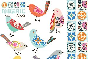 Mosaic Birds EPS