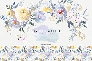 Sky Blue & Gold Floral Clip Art  Set